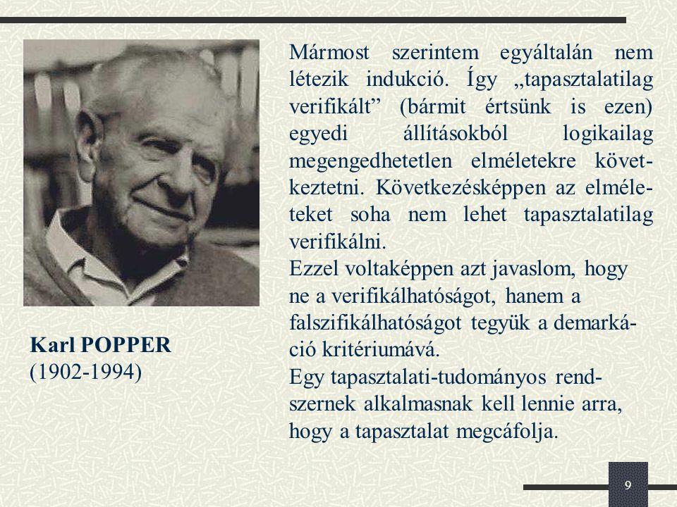 9 Karl POPPER (1902-1994) Mármost szerintem egyáltalán nem létezik indukció.