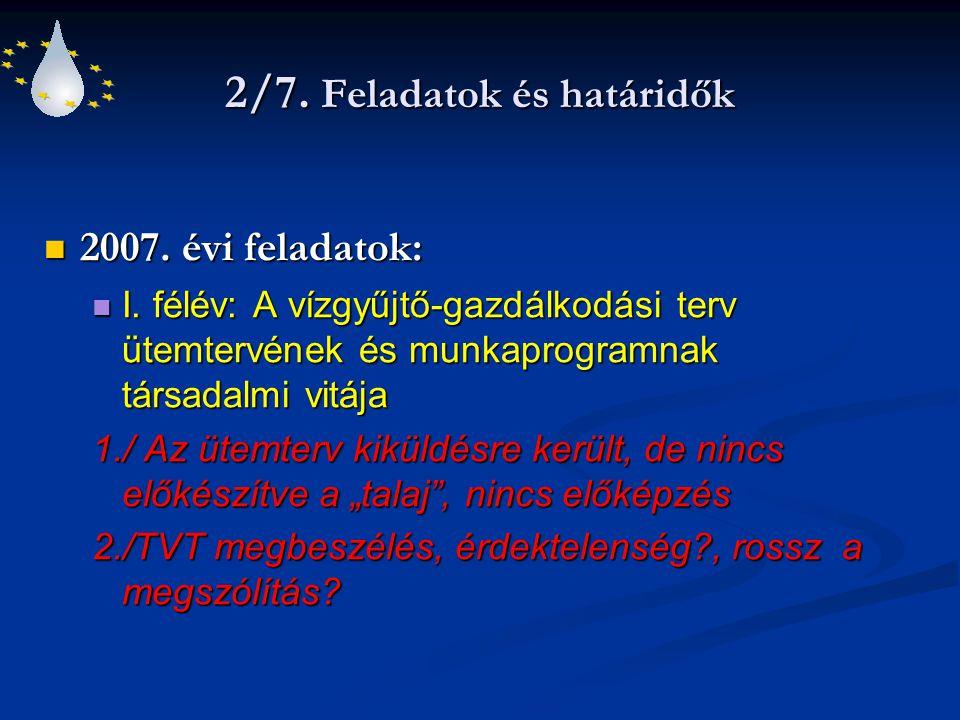 2/7. Feladatok és határidők 2007. évi feladatok: 2007. évi feladatok: I. félév: A vízgyűjtő-gazdálkodási terv ütemtervének és munkaprogramnak társadal