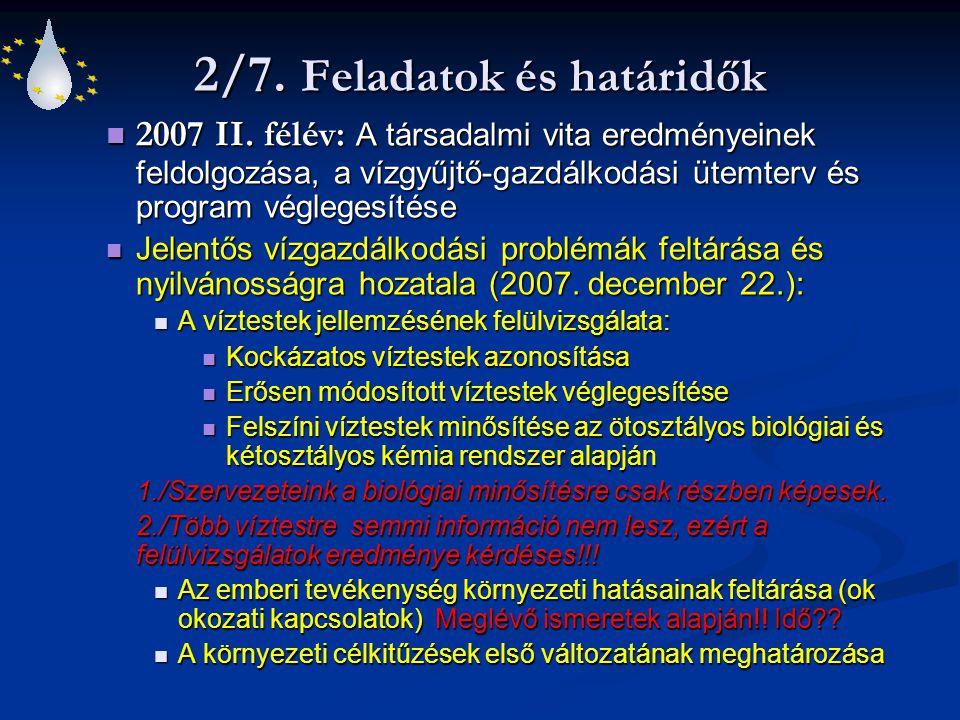 2/7. Feladatok és határidők 2007 II. félév: A társadalmi vita eredményeinek feldolgozása, a vízgyűjtő-gazdálkodási ütemterv és program véglegesítése 2