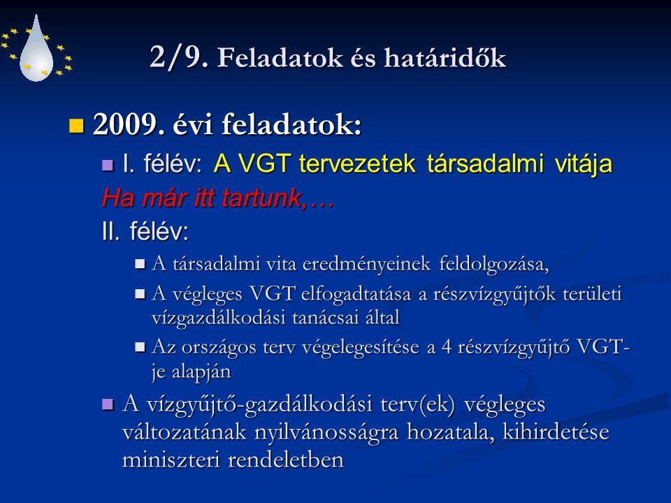 2/9. Feladatok és határidők 2009. évi feladatok: 2009. évi feladatok: I. félév: A VGT tervezetek társadalmi vitája I. félév: A VGT tervezetek társadal