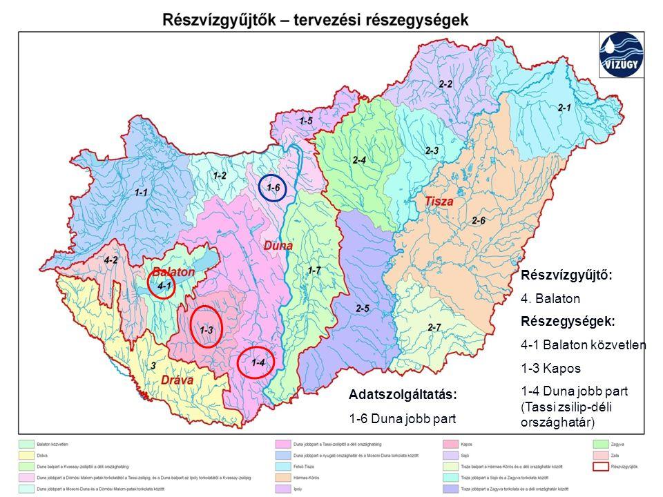 Részvízgyűjtő: 4. Balaton Részegységek: 4-1 Balaton közvetlen 1-3 Kapos 1-4 Duna jobb part (Tassi zsilip-déli országhatár) Adatszolgáltatás: 1-6 Duna