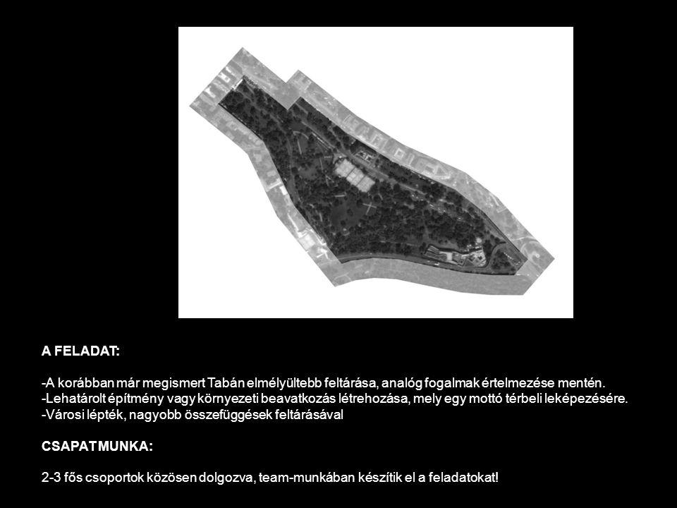 A FELADAT: -A korábban már megismert Tabán elmélyültebb feltárása, analóg fogalmak értelmezése mentén. -Lehatárolt építmény vagy környezeti beavatkozá