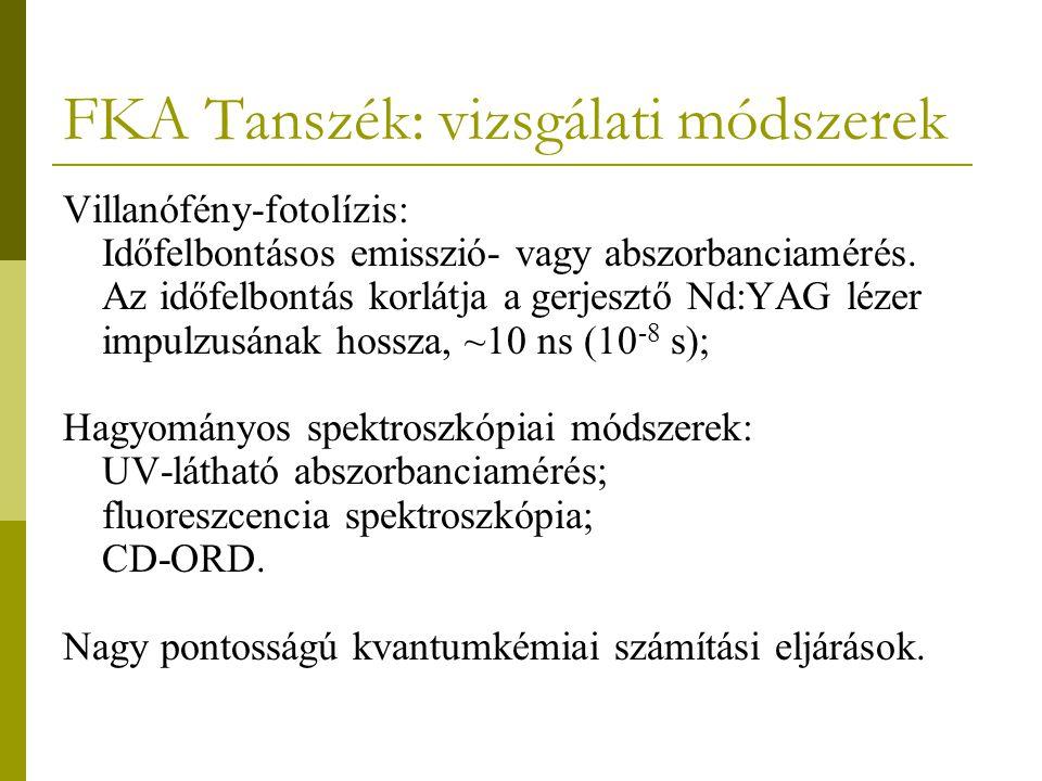 FKA Tanszék: vizsgálati módszerek Villanófény-fotolízis: Időfelbontásos emisszió- vagy abszorbanciamérés.
