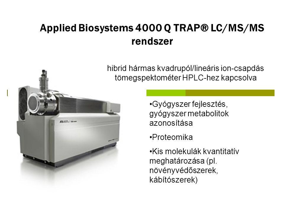 Applied Biosystems 4000 Q TRAP® LC/MS/MS rendszer Gyógyszer fejlesztés, gyógyszer metabolitok azonosítása Proteomika Kis molekulák kvantitatív meghatá