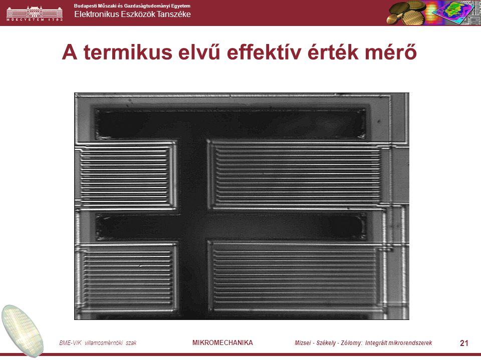 Budapesti Műszaki és Gazdaságtudományi Egyetem Elektronikus Eszközök Tanszéke BME-VIK villamosmérnöki szak MIKROMECHANIKA Mizsei - Székely - Zólomy: Integrált mikrorendszerek 21 A termikus elvű effektív érték mérő