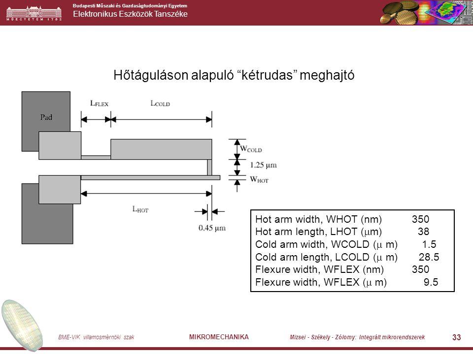 Budapesti Műszaki és Gazdaságtudományi Egyetem Elektronikus Eszközök Tanszéke BME-VIK villamosmérnöki szak MIKROMECHANIKA Mizsei - Székely - Zólomy: Integrált mikrorendszerek 33 Hőtáguláson alapuló kétrudas meghajtó Hot arm width, WHOT (nm) 350 Hot arm length, LHOT (  m) 38 Cold arm width, WCOLD (  m) 1.5 Cold arm length, LCOLD (  m) 28.5 Flexure width, WFLEX (nm) 350 Flexure width, WFLEX (  m) 9.5