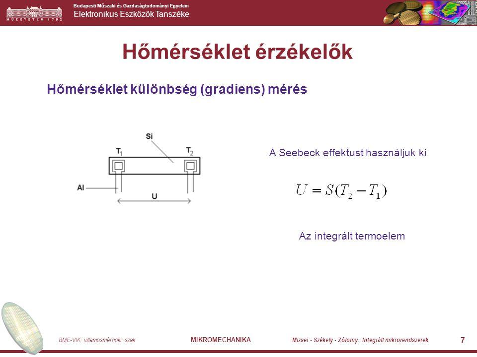 Budapesti Műszaki és Gazdaságtudományi Egyetem Elektronikus Eszközök Tanszéke BME-VIK villamosmérnöki szak MIKROMECHANIKA Mizsei - Székely - Zólomy: Integrált mikrorendszerek 7 Hőmérséklet érzékelők Hőmérséklet különbség (gradiens) mérés A Seebeck effektust használjuk ki Az integrált termoelem