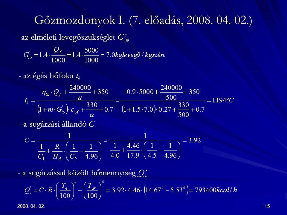 2008. 04. 02.15 Gőzmozdonyok I. (7. előadás, 2008. 04. 02.) - az elméleti levegőszükséglet G' lo - az égés hőfoka t é - a sugárzási állandó C - a sugá