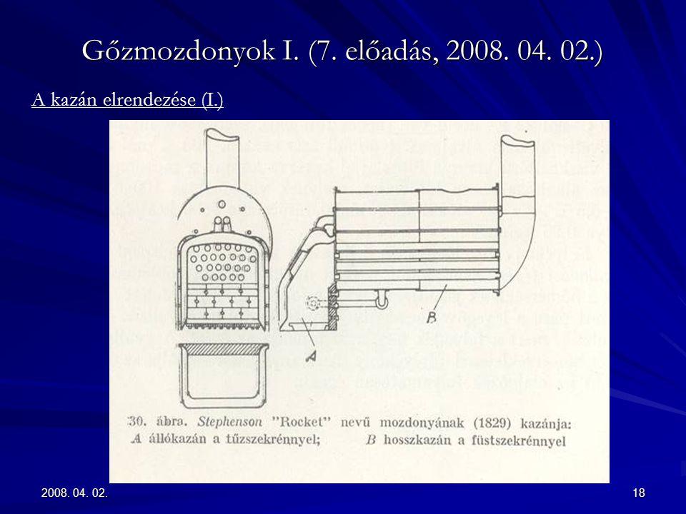 2008. 04. 02.18 Gőzmozdonyok I. (7. előadás, 2008. 04. 02.) A kazán elrendezése (I.)