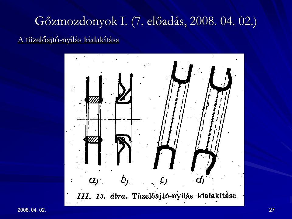 2008. 04. 02.27 Gőzmozdonyok I. (7. előadás, 2008. 04. 02.) A tüzelőajtó-nyílás kialakítása