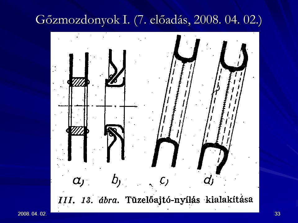 2008. 04. 02.33 Gőzmozdonyok I. (7. előadás, 2008. 04. 02.)