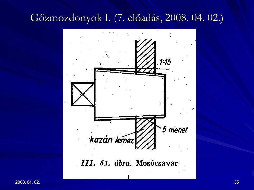 2008. 04. 02.35 Gőzmozdonyok I. (7. előadás, 2008. 04. 02.)