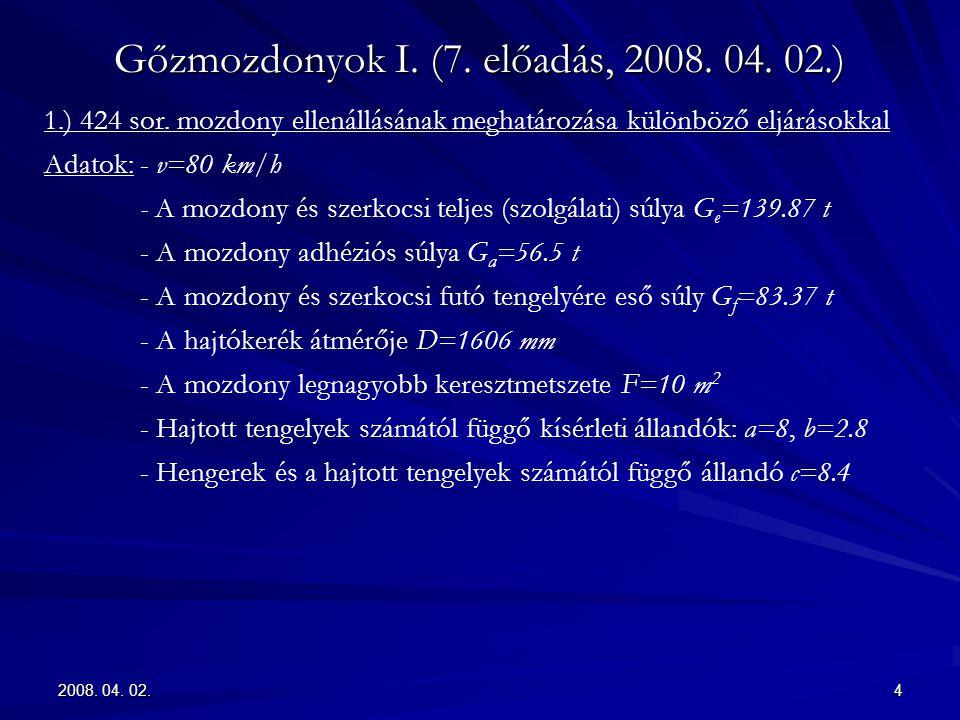 2008. 04. 02.4 Gőzmozdonyok I. (7. előadás, 2008. 04. 02.) 1.) 424 sor. mozdony ellenállásának meghatározása különböző eljárásokkal Adatok:- v=80 km/h