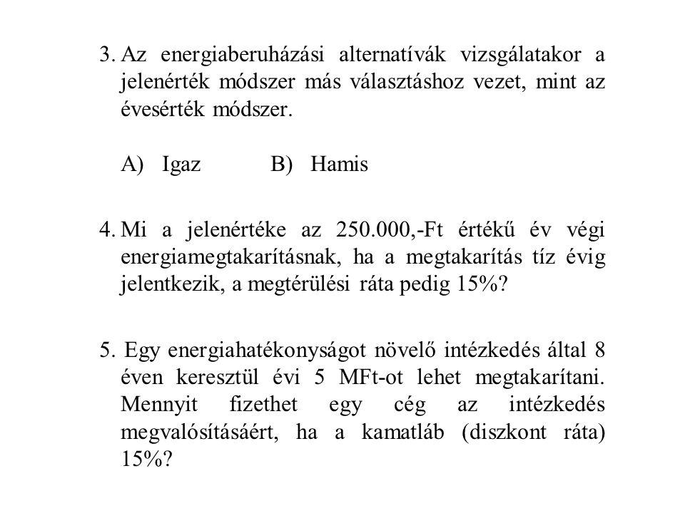 CEM vizsga áttekintő kérdések 1.Mennyi a beruházás megtérülési rátája (adó előtt) egy hulladékhő hasznosító rendszer üzembehelyezése esetén, ha az alá