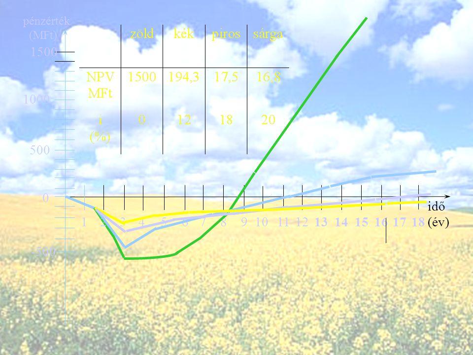 A nettó jelenérték tehát : ahol : a beruházás nettó jelen értéke az éves nettó nyereség összege az éves beruházási költség összege diszkontráta az éve