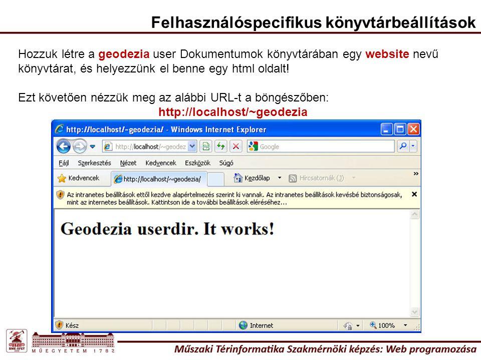Felhasználóspecifikus könyvtárbeállítások Hozzuk létre a geodezia user Dokumentumok könyvtárában egy website nevű könyvtárat, és helyezzünk el benne egy html oldalt.