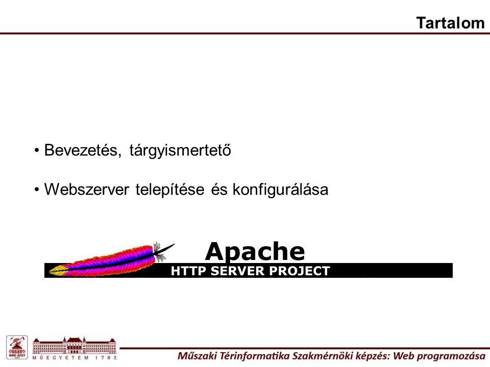Tartalom Bevezetés, tárgyismertető Webszerver telepítése és konfigurálása