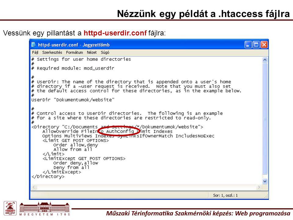 Nézzünk egy példát a.htaccess fájlra Vessünk egy pillantást a httpd-userdir.conf fájlra: