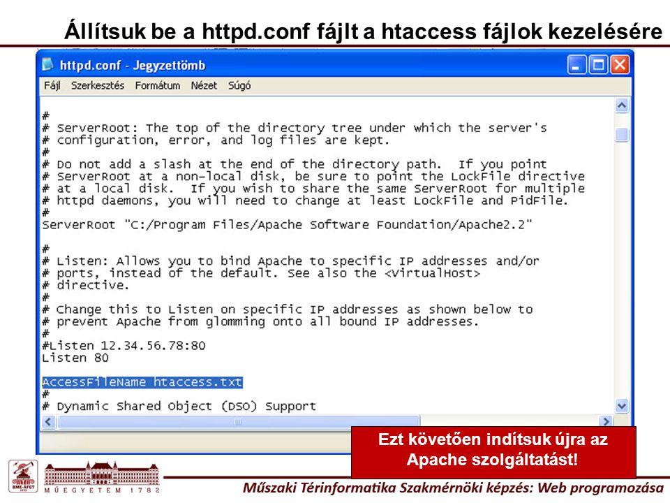 Állítsuk be a httpd.conf fájlt a htaccess fájlok kezelésére Ezt követően indítsuk újra az Apache szolgáltatást!