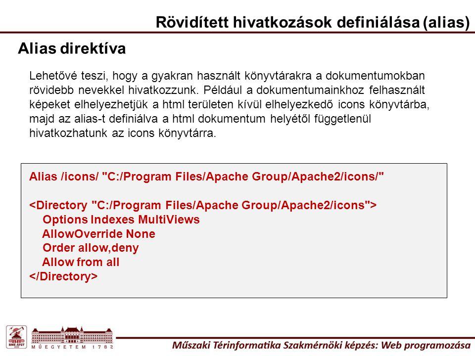Alias direktíva Alias /icons/ C:/Program Files/Apache Group/Apache2/icons/ Options Indexes MultiViews AllowOverride None Order allow,deny Allow from all Rövidített hivatkozások definiálása (alias) Lehetővé teszi, hogy a gyakran használt könyvtárakra a dokumentumokban rövidebb nevekkel hivatkozzunk.