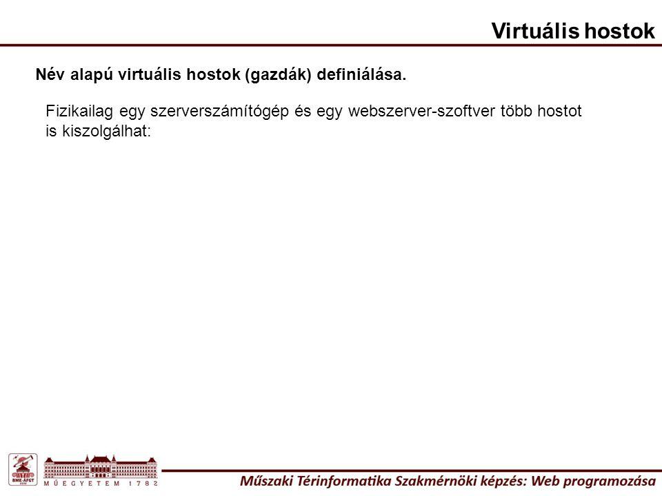 Név alapú virtuális hostok (gazdák) definiálása. Virtuális hostok Fizikailag egy szerverszámítógép és egy webszerver-szoftver több hostot is kiszolgál