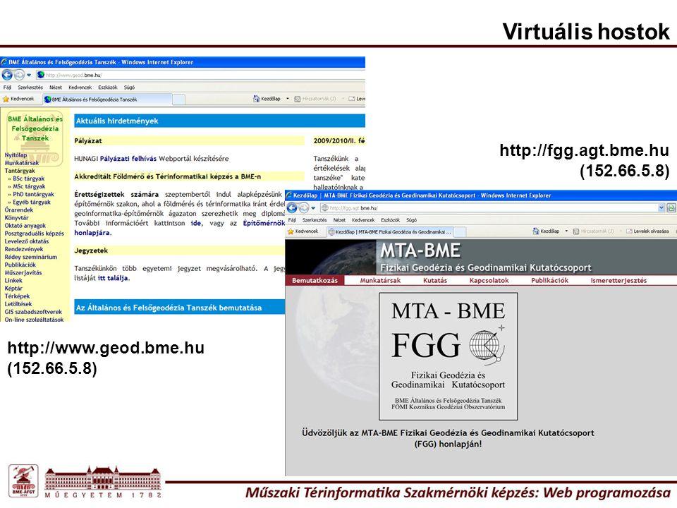 Virtuális hostok http://www.geod.bme.hu (152.66.5.8) http://fgg.agt.bme.hu (152.66.5.8)