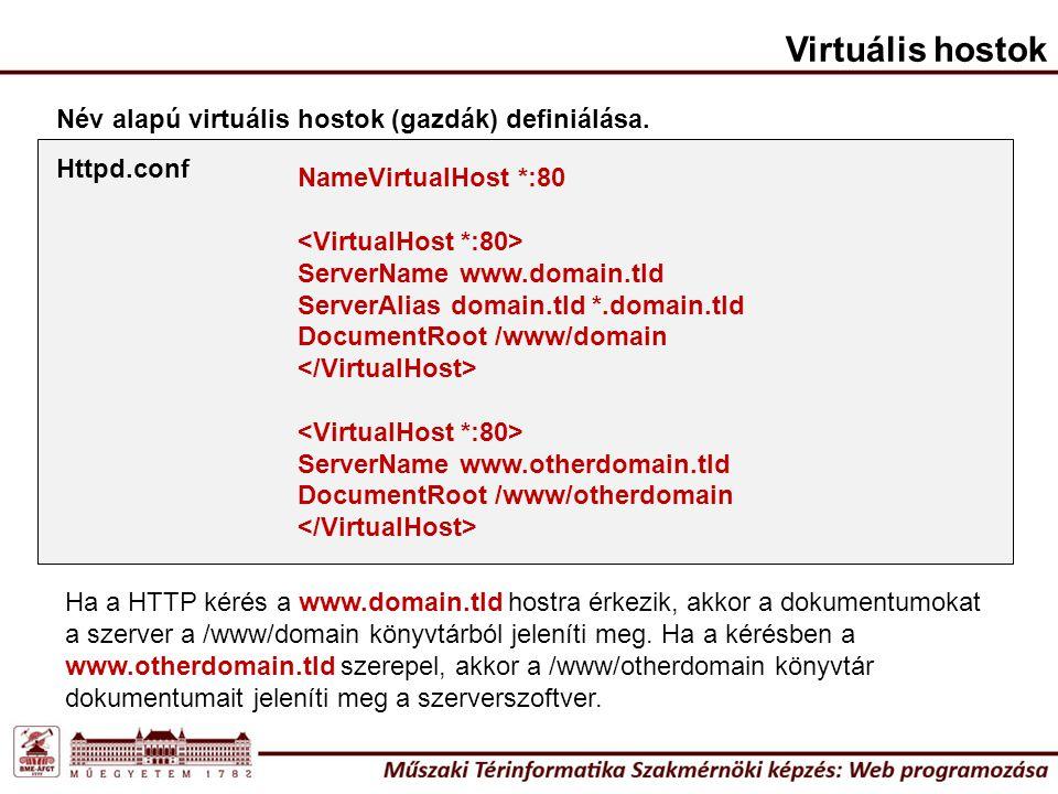 Név alapú virtuális hostok (gazdák) definiálása. NameVirtualHost *:80 ServerName www.domain.tld ServerAlias domain.tld *.domain.tld DocumentRoot /www/