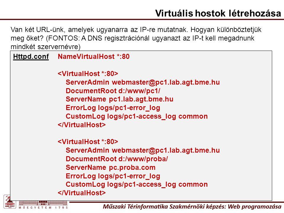 Httpd.conf Van két URL-ünk, amelyek ugyanarra az IP-re mutatnak. Hogyan különböztetjük meg őket? (FONTOS: A DNS regisztrációnál ugyanazt az IP-t kell