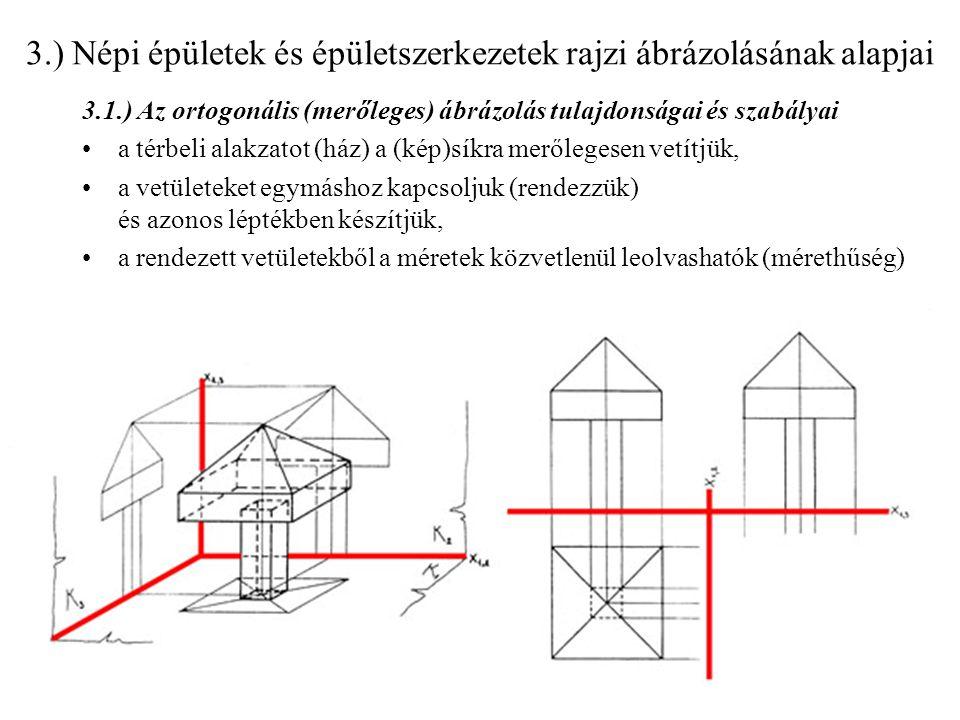 3.) Népi épületek és épületszerkezetek rajzi ábrázolásának alapjai 3.1.) Az ortogonális (merőleges) ábrázolás tulajdonságai és szabályai a térbeli ala