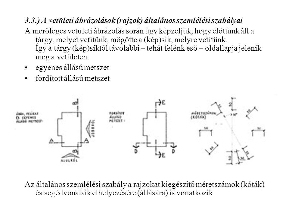 3.3.) A vetületi ábrázolások (rajzok) általános szemlélési szabályai A merőleges vetületi ábrázolás során úgy képzeljük, hogy előttünk áll a tárgy, me