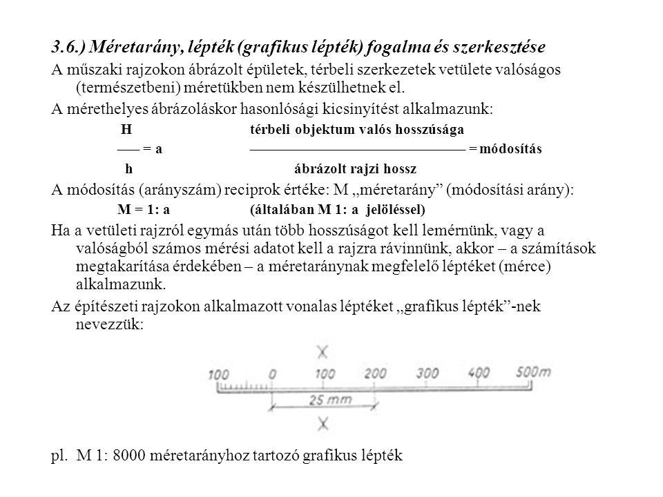 3.6.) Méretarány, lépték (grafikus lépték) fogalma és szerkesztése A műszaki rajzokon ábrázolt épületek, térbeli szerkezetek vetülete valóságos (termé