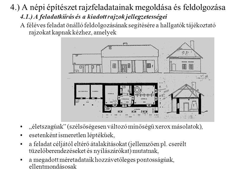 4.) A népi építészet rajzfeladatainak megoldása és feldolgozása 4.1.) A feladatkiírás és a kiadott rajzok jellegzetességei A féléves feladat önálló fe