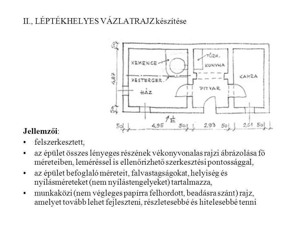 II., LÉPTÉKHELYES VÁZLATRAJZ készítése Jellemzői: felszerkesztett, az épület összes lényeges részének vékonyvonalas rajzi ábrázolása fő méreteiben, le