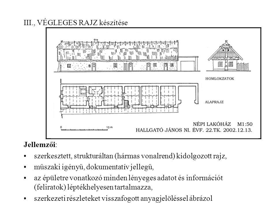 III., VÉGLEGES RAJZ készítése Jellemzői: szerkesztett, strukturáltan (hármas vonalrend) kidolgozott rajz, műszaki igényű, dokumentatív jellegű, az épü