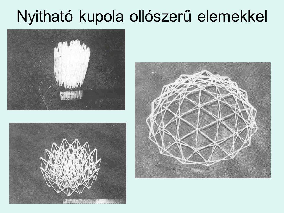 Nyitható kupola ollószerű elemekkel