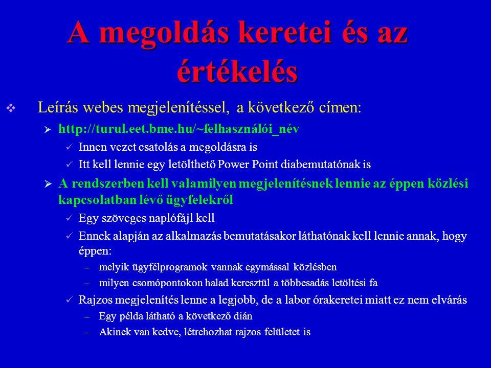 A megoldás keretei és az értékelés  Leírás webes megjelenítéssel, a következő címen:  http://turul.eet.bme.hu/~felhasználói_név Innen vezet csatolás