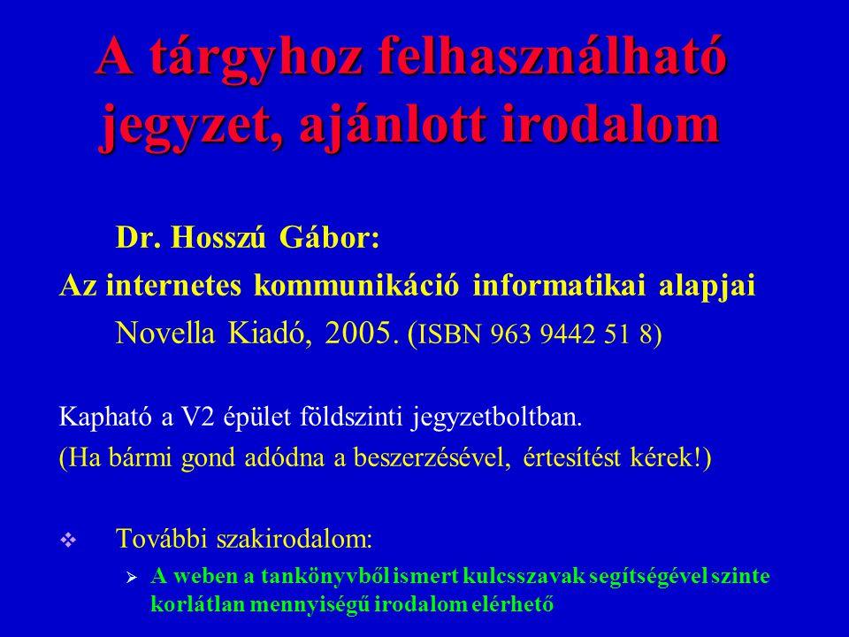 A tárgyhoz felhasználható jegyzet, ajánlott irodalom Dr. Hosszú Gábor: Az internetes kommunikáció informatikai alapjai Novella Kiadó, 2005. ( ISBN 963