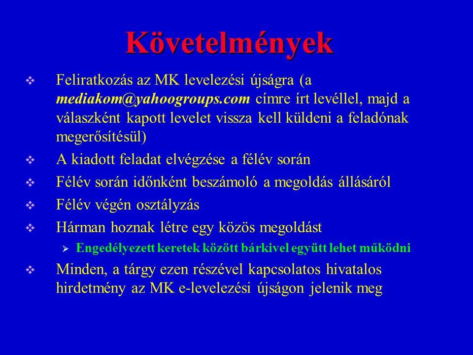 Követelmények  Feliratkozás az MK levelezési újságra (a mediakom@yahoogroups.com címre írt levéllel, majd a válaszként kapott levelet vissza kell kül