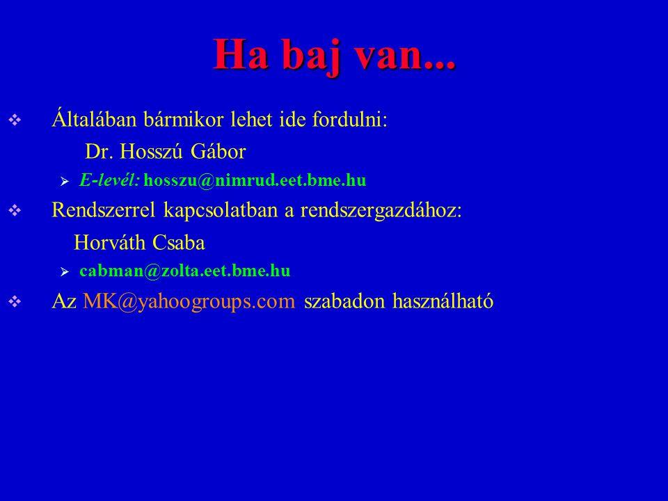 Ha baj van...  Általában bármikor lehet ide fordulni: Dr. Hosszú Gábor  E-levél: hosszu@nimrud.eet.bme.hu  Rendszerrel kapcsolatban a rendszergazdá