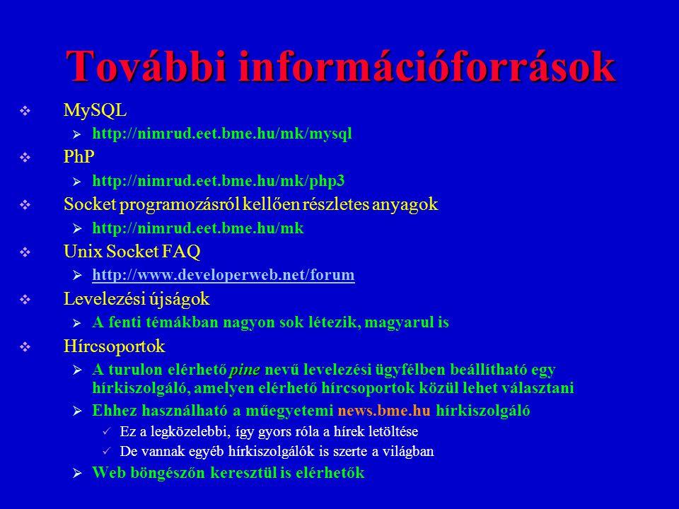 További információforrások  MySQL  http://nimrud.eet.bme.hu/mk/mysql  PhP  http://nimrud.eet.bme.hu/mk/php3  Socket programozásról kellően részle