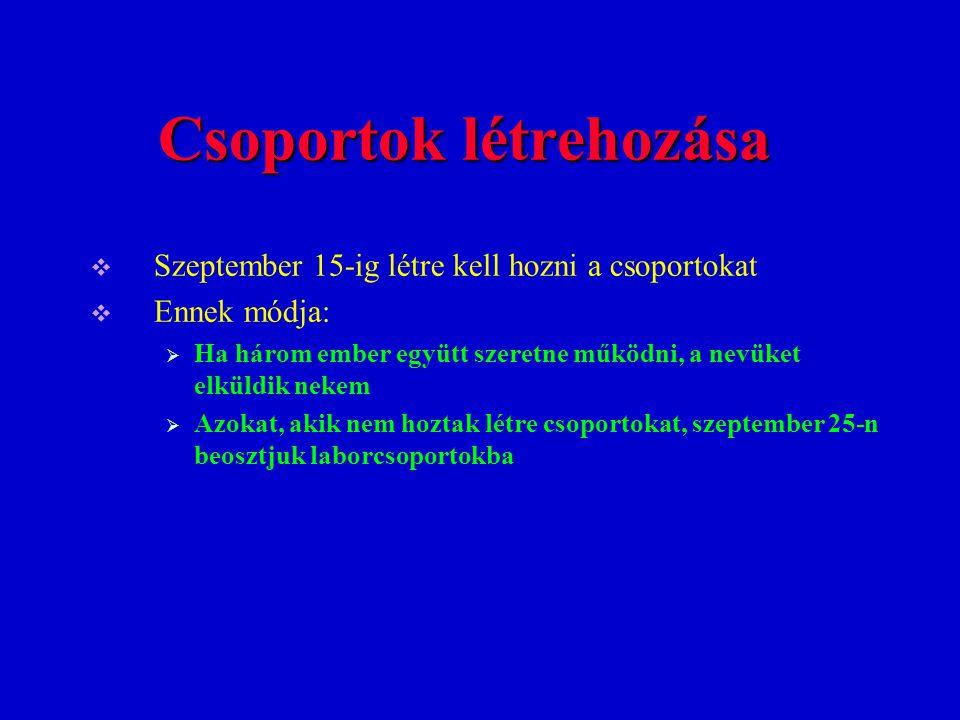 Csoportok létrehozása  Szeptember 15-ig létre kell hozni a csoportokat  Ennek módja:  Ha három ember együtt szeretne működni, a nevüket elküldik ne