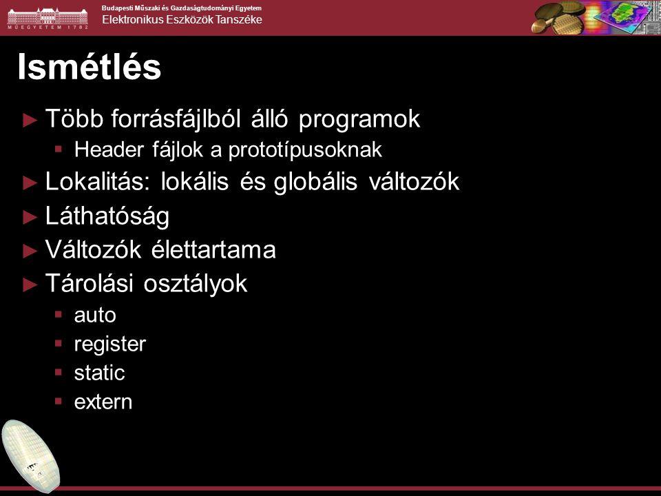 Budapesti Műszaki és Gazdaságtudományi Egyetem Elektronikus Eszközök Tanszéke Ismétlés ► Több forrásfájlból álló programok  Header fájlok a prototípu