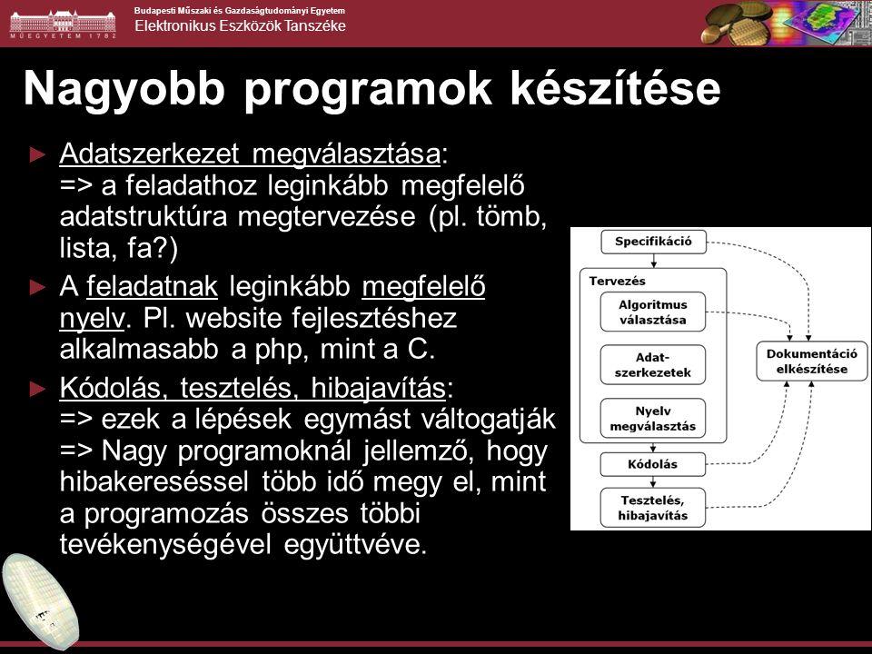 Budapesti Műszaki és Gazdaságtudományi Egyetem Elektronikus Eszközök Tanszéke További példák 2/2 ► Írja ki fordítva a paraméterként kapott sztringet.