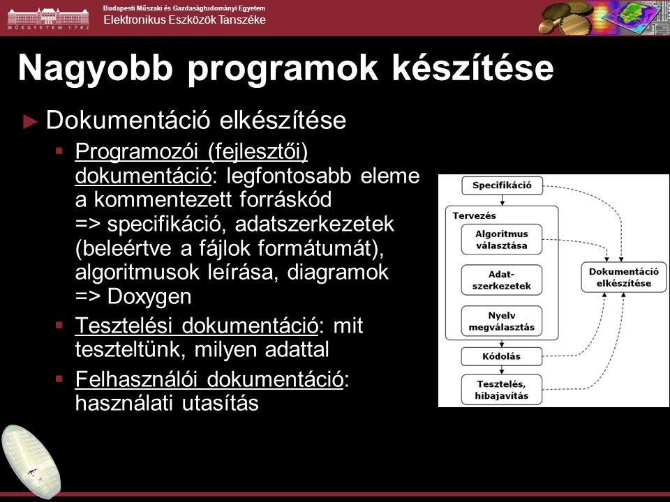 Budapesti Műszaki és Gazdaságtudományi Egyetem Elektronikus Eszközök Tanszéke Nagyobb programok készítése ► Dokumentáció elkészítése  Programozói (fejlesztői) dokumentáció: legfontosabb eleme a kommentezett forráskód => specifikáció, adatszerkezetek (beleértve a fájlok formátumát), algoritmusok leírása, diagramok => Doxygen  Tesztelési dokumentáció: mit teszteltünk, milyen adattal  Felhasználói dokumentáció: használati utasítás