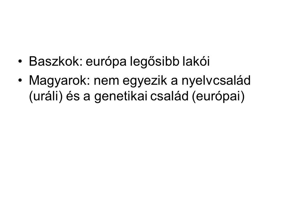 Baszkok: európa legősibb lakói Magyarok: nem egyezik a nyelvcsalád (uráli) és a genetikai család (európai)