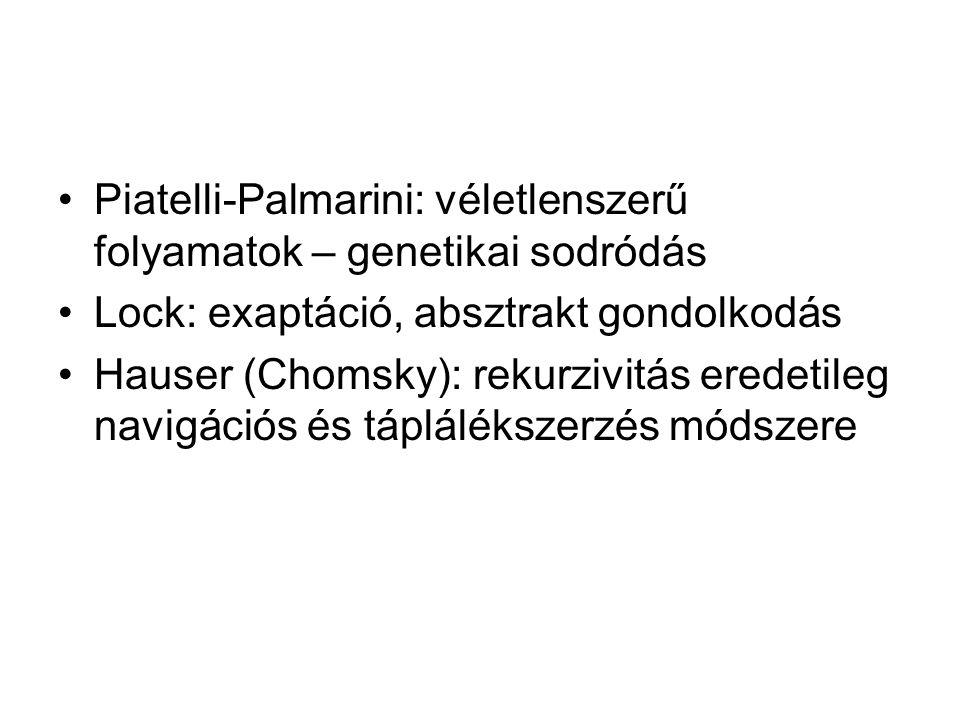Piatelli-Palmarini: véletlenszerű folyamatok – genetikai sodródás Lock: exaptáció, absztrakt gondolkodás Hauser (Chomsky): rekurzivitás eredetileg navigációs és táplálékszerzés módszere