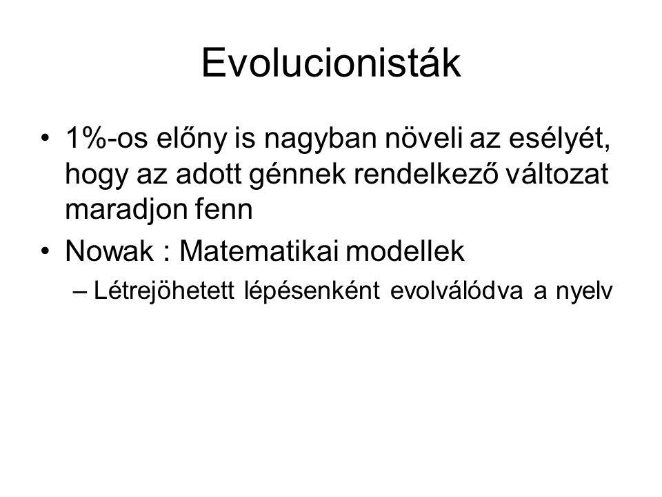 Evolucionisták 1%-os előny is nagyban növeli az esélyét, hogy az adott génnek rendelkező változat maradjon fenn Nowak : Matematikai modellek –Létrejöhetett lépésenként evolválódva a nyelv