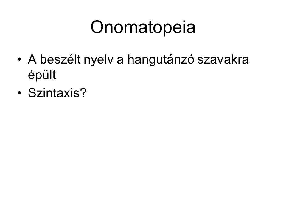 Onomatopeia A beszélt nyelv a hangutánzó szavakra épült Szintaxis?