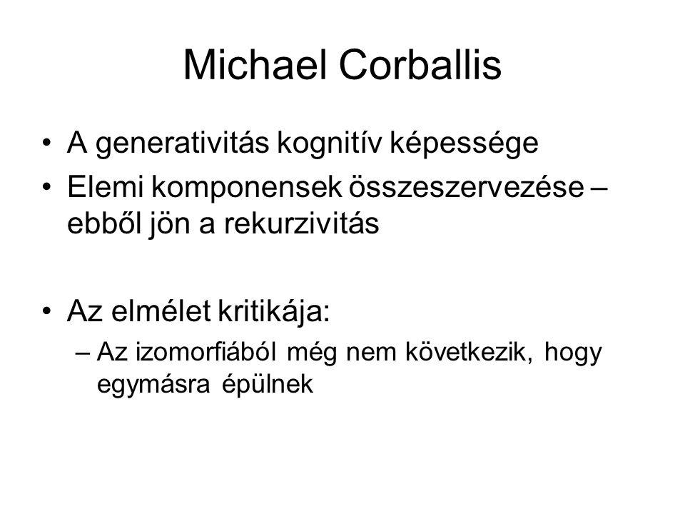 Michael Corballis A generativitás kognitív képessége Elemi komponensek összeszervezése – ebből jön a rekurzivitás Az elmélet kritikája: –Az izomorfiából még nem következik, hogy egymásra épülnek