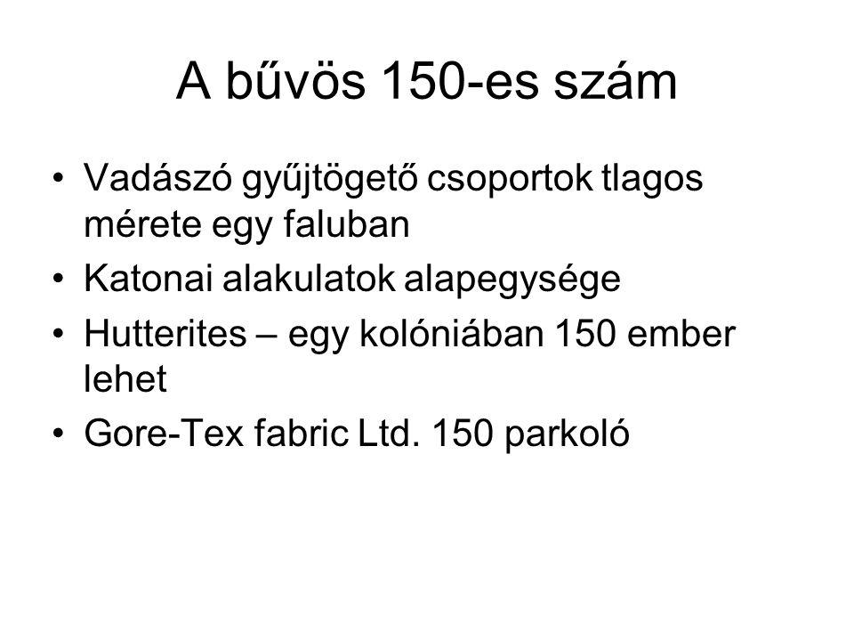 A bűvös 150-es szám Vadászó gyűjtögető csoportok tlagos mérete egy faluban Katonai alakulatok alapegysége Hutterites – egy kolóniában 150 ember lehet Gore-Tex fabric Ltd.